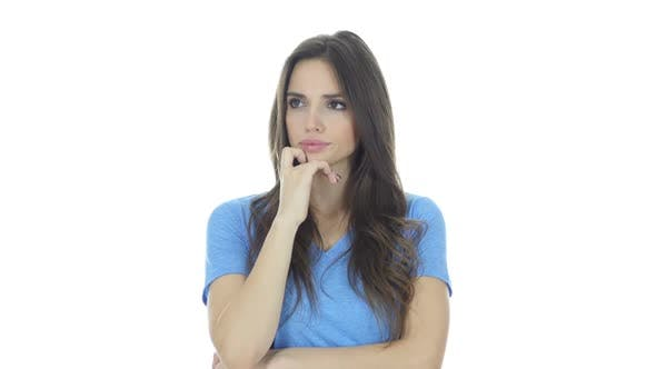 Thumbnail for Thinking, Portrait of Beautiful Brunette Woman