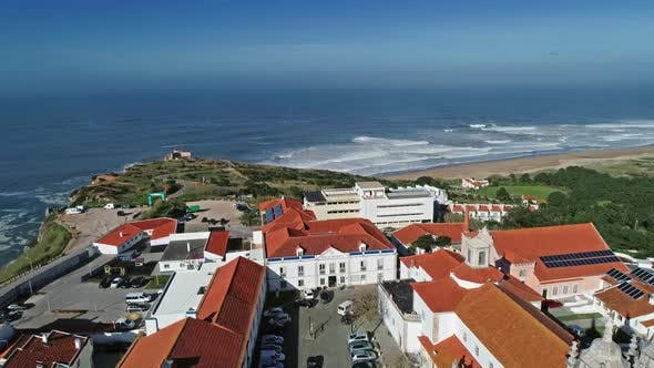 Aerial View of Nazare and Cape with Lighthouse