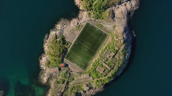 Thumbnail for Norway Lofoten Football Field Stadium in Henningsvaer From Above