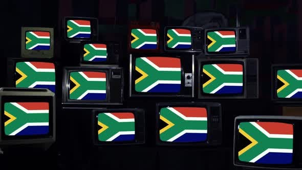 Thumbnail for Flag of South Africa on Old 80s TVs.