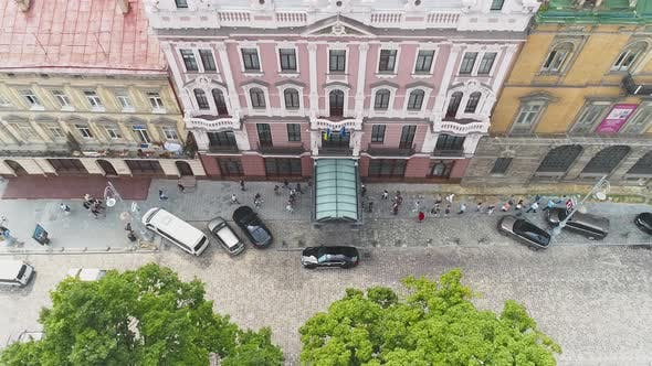 Thumbnail for Aerial View Of The European Embassy In Eastern Europe. Traffic People On The Road