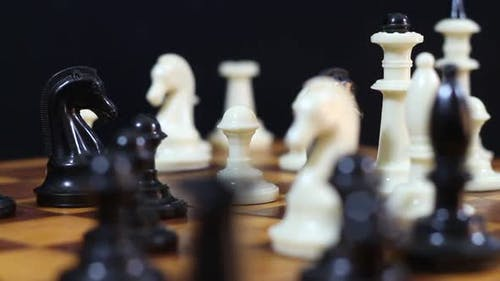 Beautiful Chess Pieces On A Chessboard