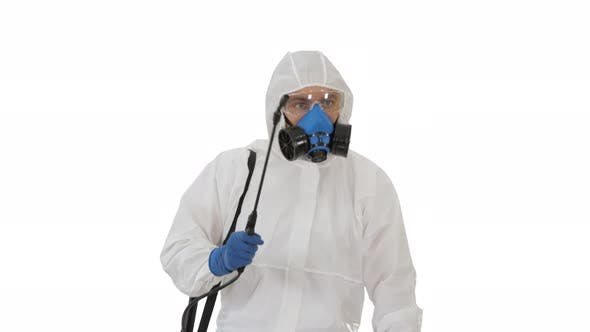Thumbnail for Virologist in Protective Uniform Walking and Disinfecting the Area on White Background