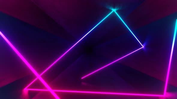 Neon Ray Moving and Bouncing in Hexagon Dark Tunnel