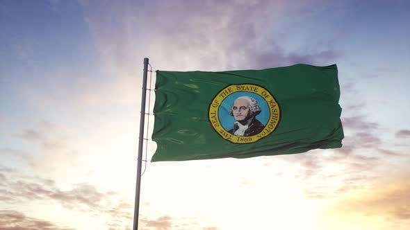 State Flag of Washington Waving in the Wind