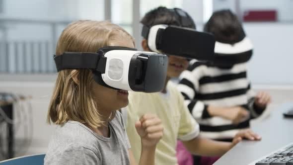 Closeup of Schoolgirl Wearing VR Headset