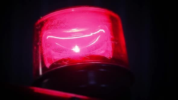Flashing Red Light on Top of a Fire Truck.