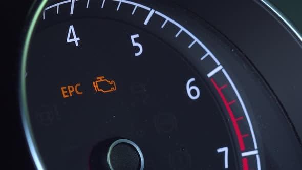 Closeup on a Car Tachometer