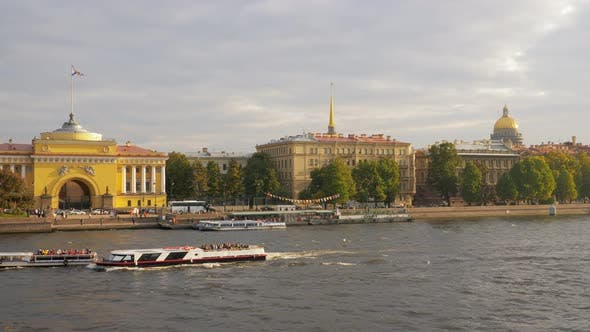 Thumbnail for Water and Automobile Transport in Saint Petersburg, View From Bridge Over Neva River