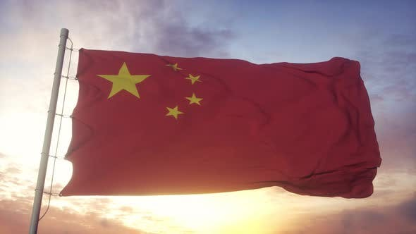Red Chinese Flag Waving Dramatically