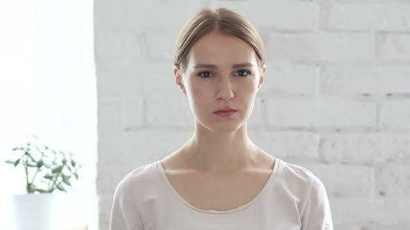 Thumbnail for Upset Sad Beautiful Young Woman, Portrait