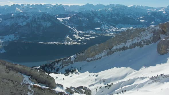 Thumbnail for Ridge and Mountain Range on Background. Swiss Alps, Switzerland. Aerial View