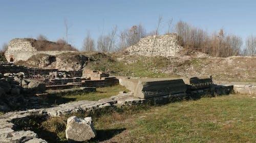 GAMZIGRAD, SERBIA - DECEMBER 25, 2017 Ancient ruins of Felix Romuliana palace stairs  built by Roman