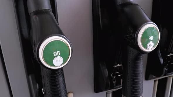 Thumbnail for Different Gasoline Gun at a Petrol Station. Gas Fuel Pump Nozzle.
