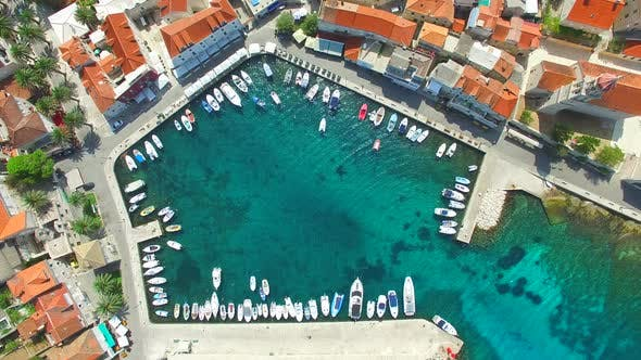 Thumbnail for Aerial view of small harbour in the Adriatic
