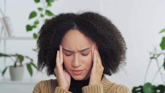 Thumbnail for Portrait of Afro American Curly Haired Sad Tired Woman Feeling Headache Fever Suffering From