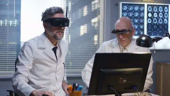 Doctors Watching Screen Using Virtual Reality Headset
