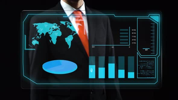 Man Uses Holographic Interface, in Black Suit Turn-on Touchscreen and Appears Financial Diagrams.