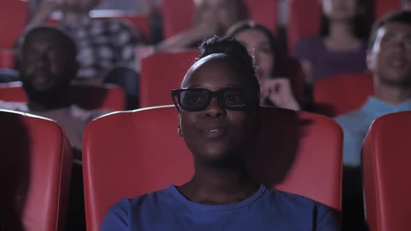 African American Female Watching Exciting 3d Movie