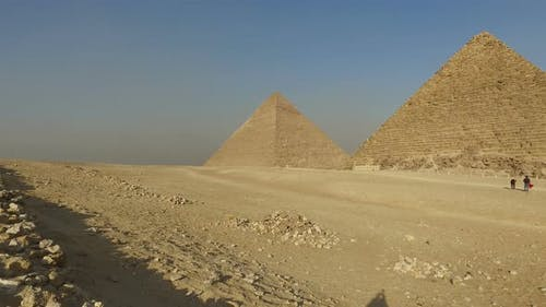 Tourists in front of Menkaure pyramid at Giza
