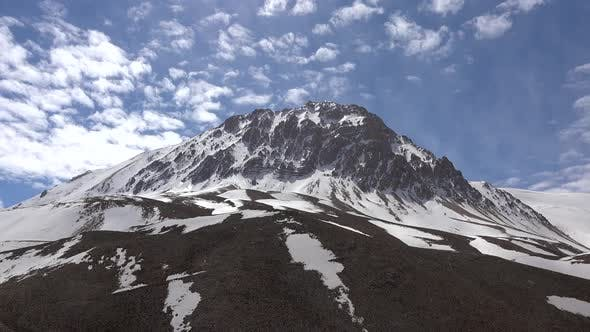 Snowy Mountain Peak in Shape of a Curved Semicircle and Dome