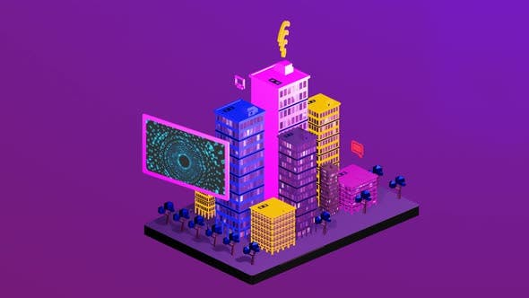 Isometric city with internet network as a liaison