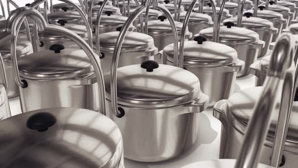 Stainless Steel Pots Isolated On White Background 4k