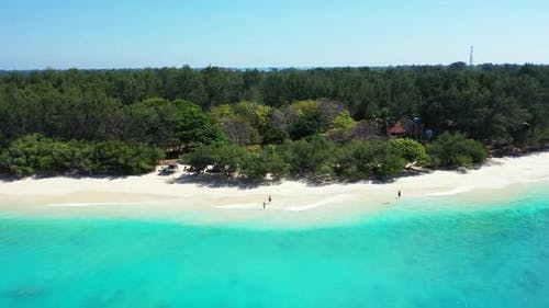 Aerial drone nature of beautiful resort beach wildlife by blue sea with white sand background of adv