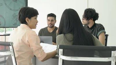 Business people meeting team