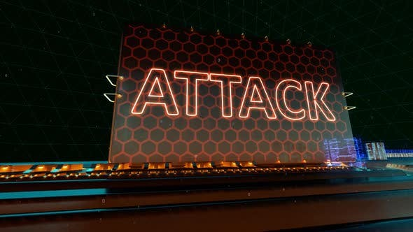 Data Attack Virus Crime and Hacker Words on Digital Futuristic Circuit Board