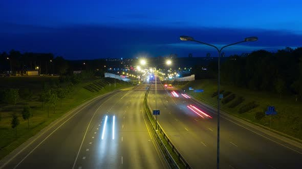 Large highway at night