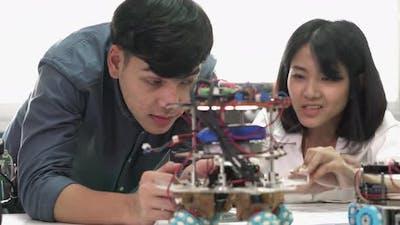 Student study in laboratory