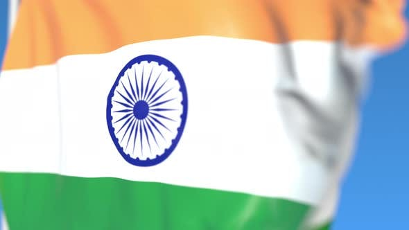Waving National Flag of India