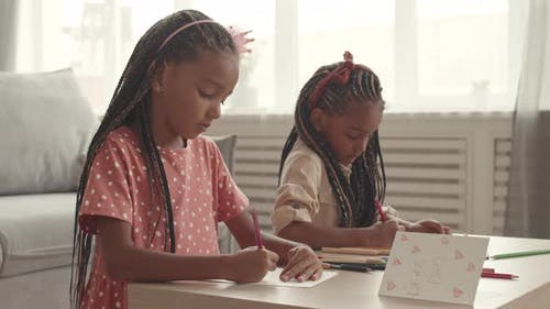 African Girls Drawing Postcards