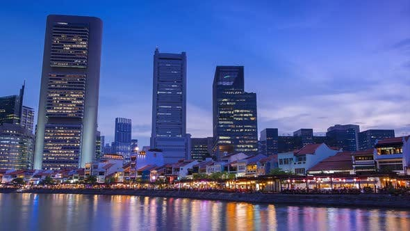 Evening in Chinatown of Singapore