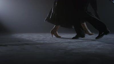 Ballroom Dancers Feet Performing on Stage