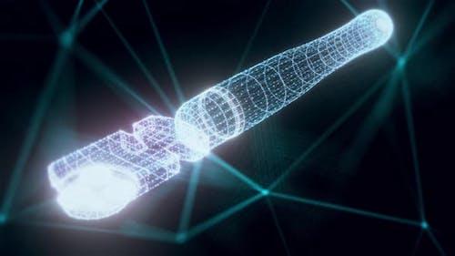 Glasscutter Hologram Close Up 4k