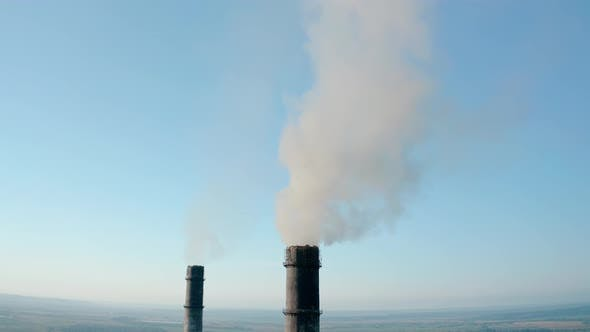 Thumbnail for Aerial Drone View of High Chimney Two Pipes with Grey Smoke From Coal Power Plant. Close Up