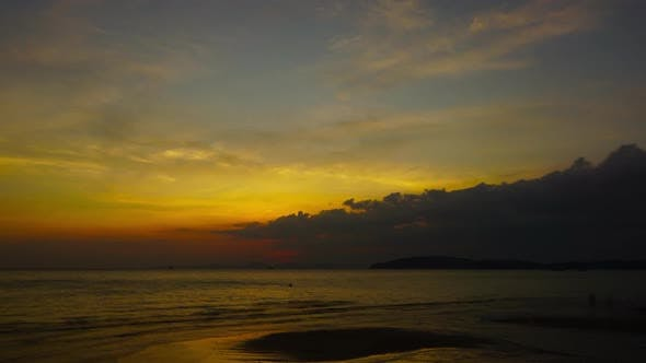 Thumbnail for Tropical Sea Sunset on the Beach, Zoom Timelapse