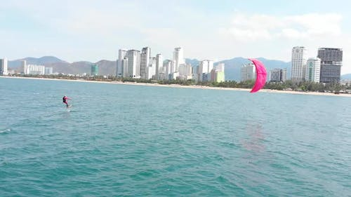 Kite Surfing Place, Sports Concept, Healthy Lifestyle, Human Flight. Aerial View of the City Beach