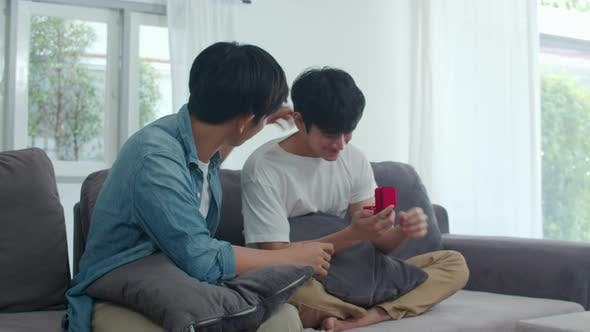 Young Asian gay couple propose at home.