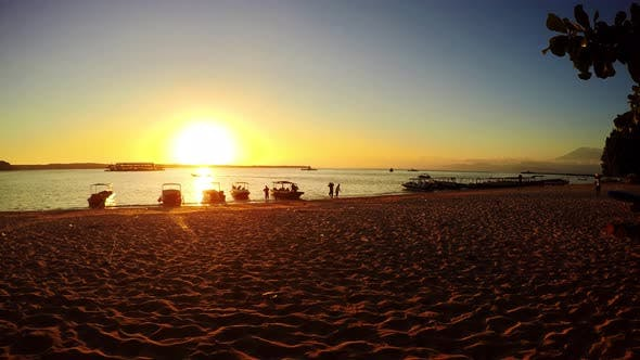 Bali beach timelapse with dramatic sky and sunset