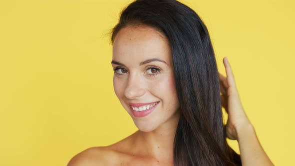 Thumbnail for Cheerful Brunette Looking at Camera