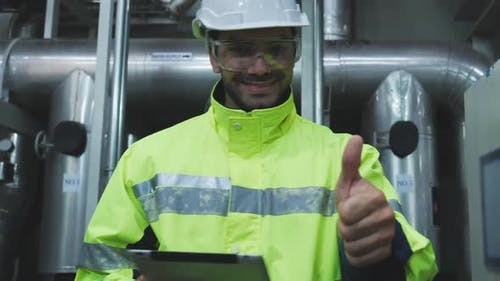 Industrial engineer thumbs up