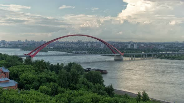 Thumbnail for Bugrinsky Bridge Over the Ob River in Novosibirsk, Siberia, Russia, Time Lapse
