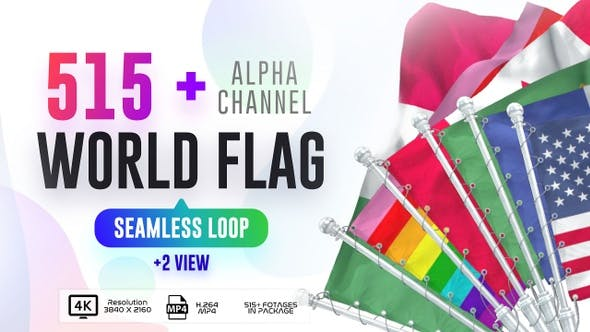 Seamless Loop Of World Flags Footages Pack + Alpha