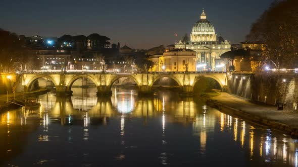 Thumbnail for Rome Skyline St.peter Basilica Vatican City As Seen From Tiber River