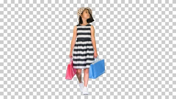Thumbnail for Asian shopping school girl walking and smiling, Alpha Channel