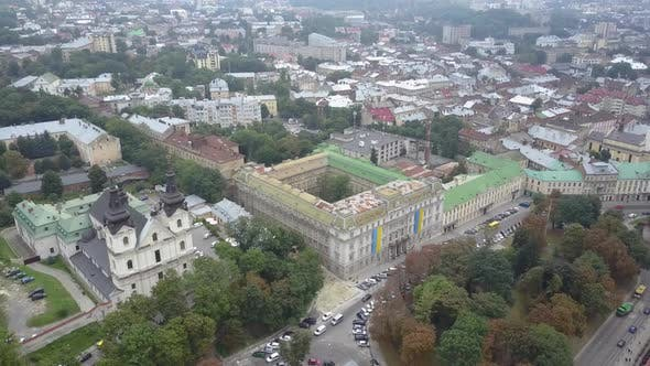 Thumbnail for Church of St. Michael Barefoot Carmelite Church in Lviv View From Above in Slow Motion. The
