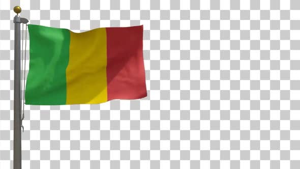 Thumbnail for Mali Flag on Flagpole with Alpha Channel